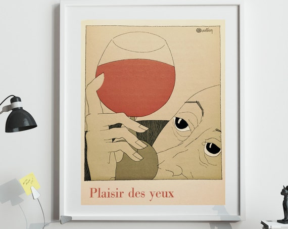 French Wine Poster Vintage French Wine Illustration Decor Bistro Decor Wine Wall Art Wine Gifts For Him Wine Gifts For Her Paris Wall Art