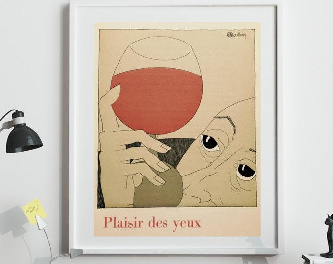 French Wine Poster Vintage French Wine Illustration Decor Bistro Decor Wine Wall Art Wine Gifts For Him Wine Gifts For Her Paris Wall Art