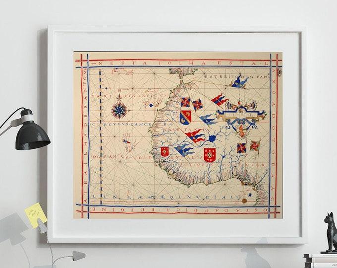 Vintage Map of West Africa Portuguese Cartography Fernao Vaz Dourado 1571