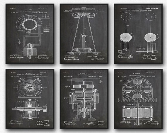 Tesla Posters Art Gift For Him Engineering Patent Wall Art Set of 6