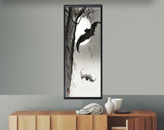 Halloween Bat Decor Bat Poster Woodblock Bat Print Bat Wings Japanese Interior Decor Long Wall Art Long Posters Vertical Decor Full Moon