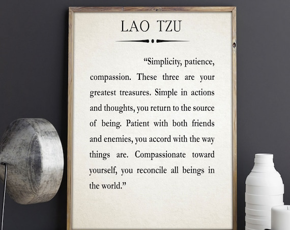 Lao Tzu Quote Simplicity Quote Compassion Quote Meditation Quote Mediation Art Mindfulness Poster Mindfulness Art Mindfulness Decor