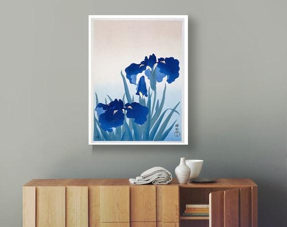 Iris Flowers Japanese Woodblock Patent Prints Woodblock Decor Iris Art Blue Flower Posters Blue Flower Art Blue Posters Blue Theme Blue Art