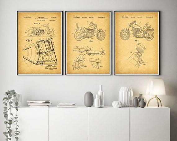 Set of 3 Motorcycle Prints Motorbike Poster Art Motorbike Decor Motorcycle Garage Decor Workshop Art  WB304-WB306