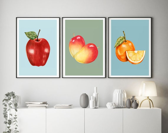 Set of 3 Modern Kitchen Art Prints  Cooking Prints Fruit Art Fruit Decor Modern Food Art Modern Cooking Wall Art Cooking Poster for Cook
