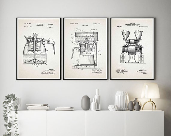 Coffee Decor Coffee Print Coffee Patent Print Set of 3 Coffee Art Cafe Prints Cafe Cafe Posters Coffee Posters Coffee Shop WB266-268-270