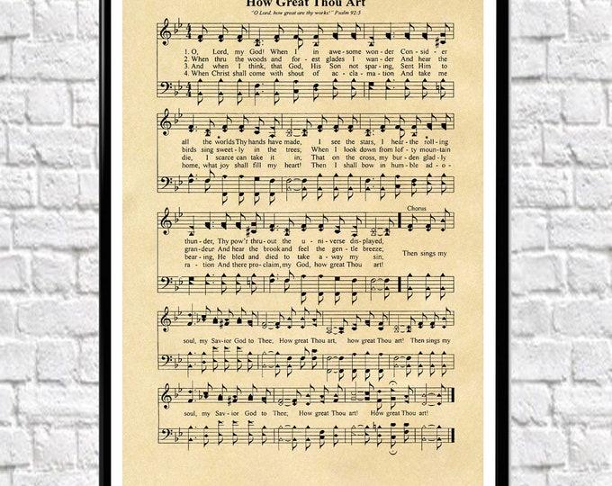 How Great Thou Art Music Sheet Poster Music Sheet Print Music Sheet Print Song Sheet Lyrics Poster Lyrics Wall Art Music Poster Music Print