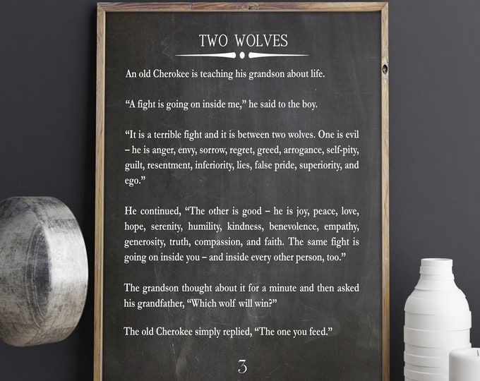 Two Wolves Story Large Book Page Wall Art Book Page Quote Cherokee Story Native American Quote Wise Book Quote Wisdom Art Wisdom Book Page