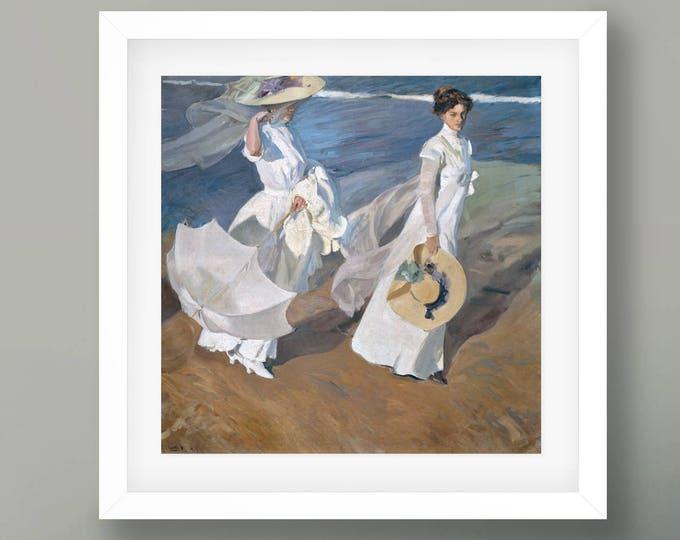 Strolling Along The Seashore by Joaquín Sorolla y Bastida 1909 Fine Art Painting Reproduction Fine Art Poster Fine Art Print Painting Decor