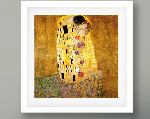 The Kiss by Gustav Klimpt 1908 Fine Art Reproduction Print Fine Art Poster Square Poster Square Print Painting Decor Square Painting
