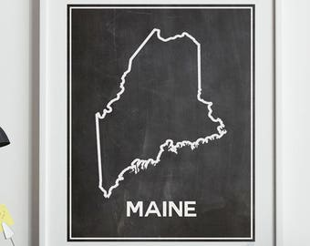 Map of Maine Map Poster of Maine on Chalkboard Background Outline Map of State Outline Map of Maine Wall Art Maine Decor