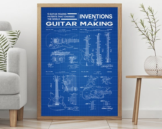 Guitar Shop Poster Inventions of Guitar Making Decor