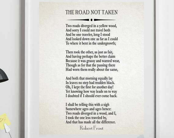 The Road Not Taken by Robert Frost 1916 Great American Poetry Wall Art Poetry Prints Poetry Poster