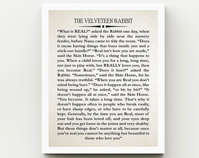 The Velveteen Rabbit Nursery Quote by Margery Williams