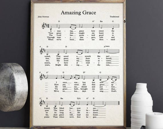 Amazing Grace Sheet Music Poster Amazing Grace Song John Newton Gospel Music Poster Hymn Wall Art Hymn Poster Amazing Grace Sign Music Art