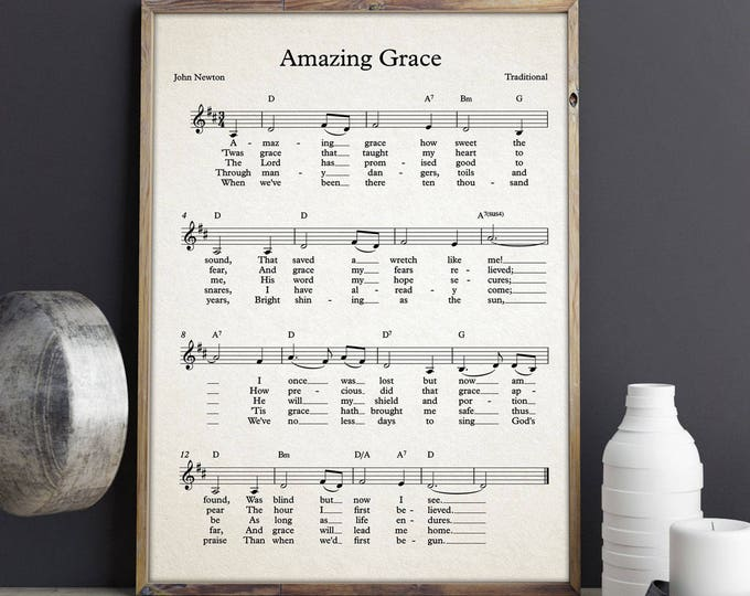 Amazing Grace Sheet Music Poster Amazing Grace Song John Newton Gospel Music Poster Hymn Wall Art Hymn Poster Amazing Grace Sign Music Art
