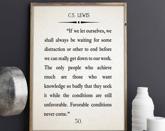 CS Lewis Book Quote Large Book Wall Art Large Book Poster Book Page Quote CS Lewis Book Print Inspiring Book Art Inspirational Quote