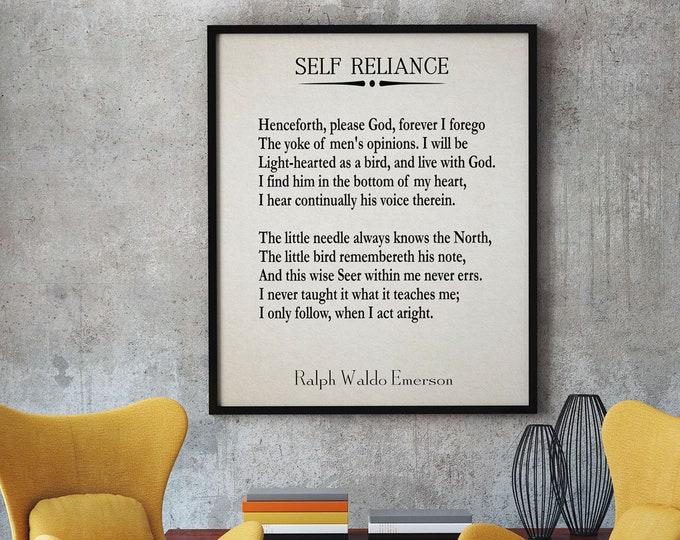 Self Reliance Poem Self Reliance by Ralph Waldo Emerson Quote Inspirational Quote Literature Poster Large Book Page Poster Book Quotes