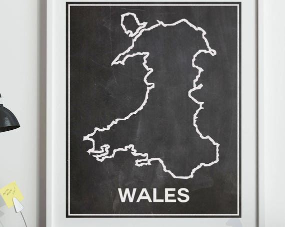 Map of Wales Map Art Welsh Poster Wales Poster Wales Decor Gift for Wales Welsh Decor Cardiff Poster Cardiff Map