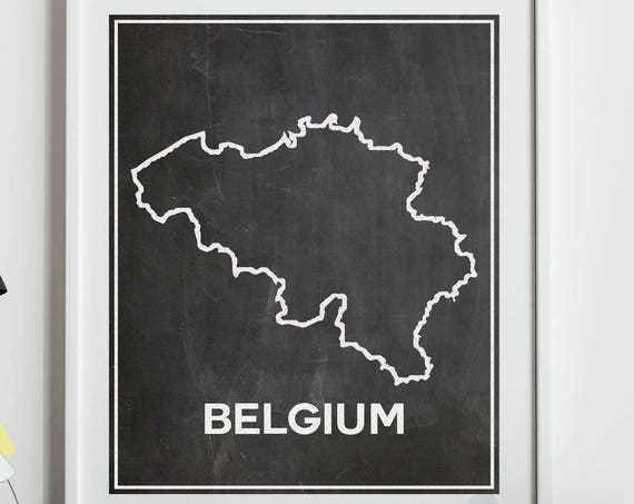 Belgium Chalkboard Map of Belgium Map Belgian Wall Art Belgian Poster Belgium Poster Brussels Map Belgian Decor Chalkboard Decor