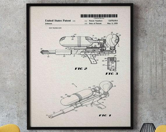 Water Gun Patent Print Water Pistol Kids Summer Wall Decor