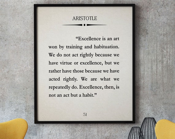 Aristotle Quote Aristotle Poster Excellence Quote School Poster Classroom Poster Philosophy Poster Philosopher Quote Aristotle Print
