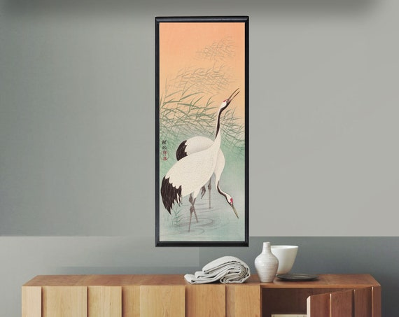 Two Cranes Woodblock Poster Two Cranes Print Japanese Decor Vertical Print Vertical Art Birds Poster Statement Piece Print Statement Art