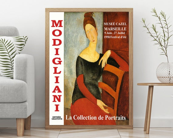 French Art Gallery Exhibition Print 1950s Museum Print Modigliani Painting