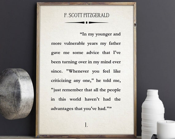 The Great Gatsby First Page Book Wall Art Literary Print F. Scott Fitzgerald Wall Art Quote Book Poster Literature Gift