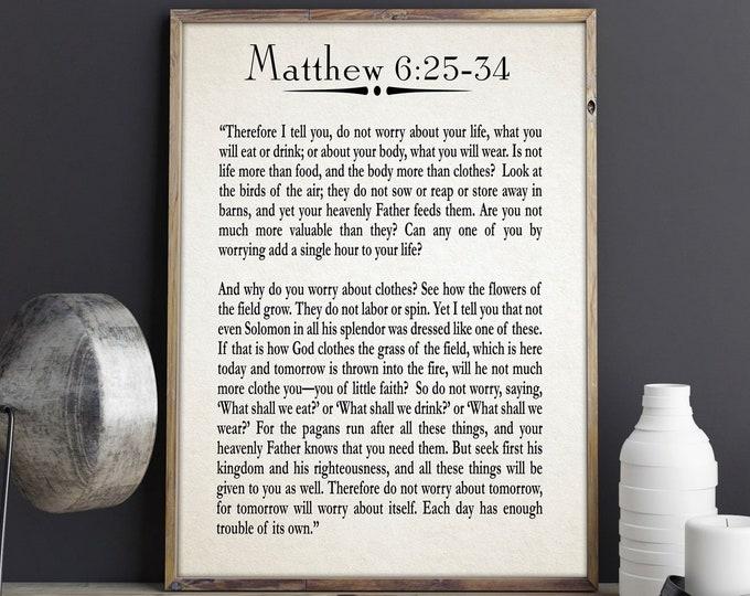 Gospel of Matthew Print Christian Bible Gift for Pastor Religious Poster Religious Print Religious Wall Art