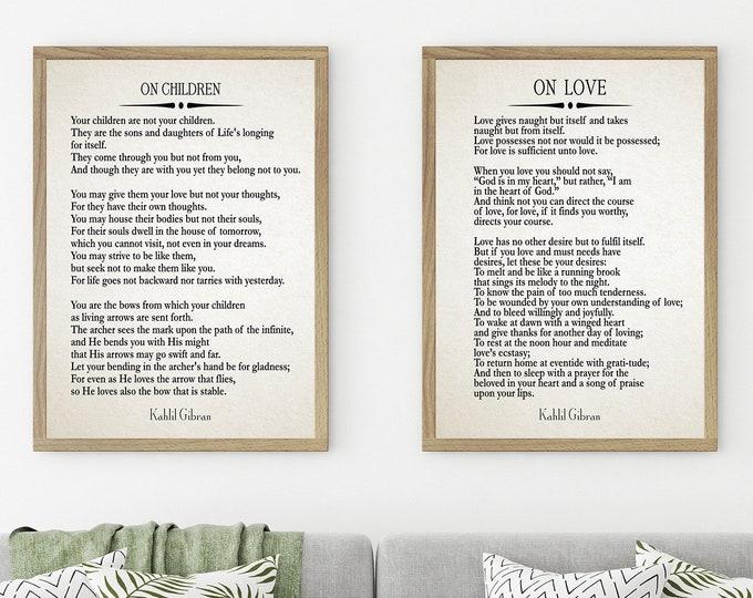 Kahlil Gribran On Love Quote On Children Poem The Prophet Poems