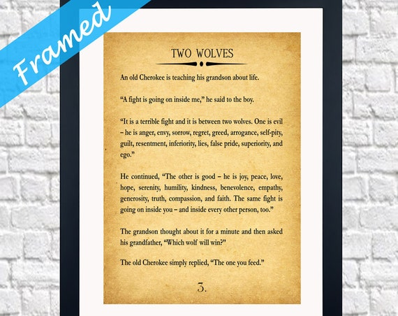 Two Wolves Framed Print Two Wolves Print Two Wolves Story Wisdom Quote Recovery Quote