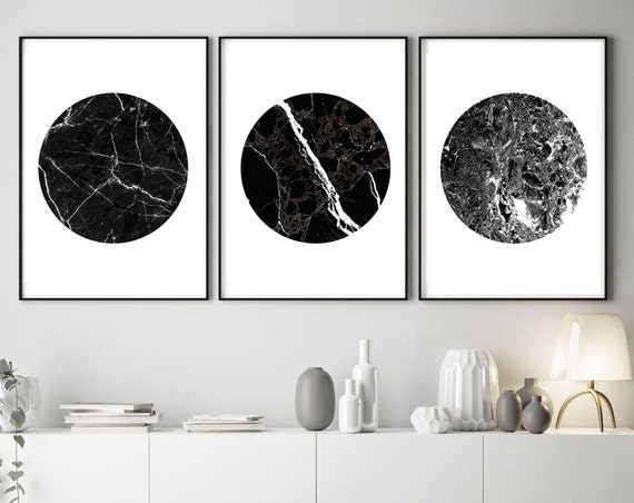 Black Marble Circles - Set of 3 Black Marble Prints - Black and White Marble Decor