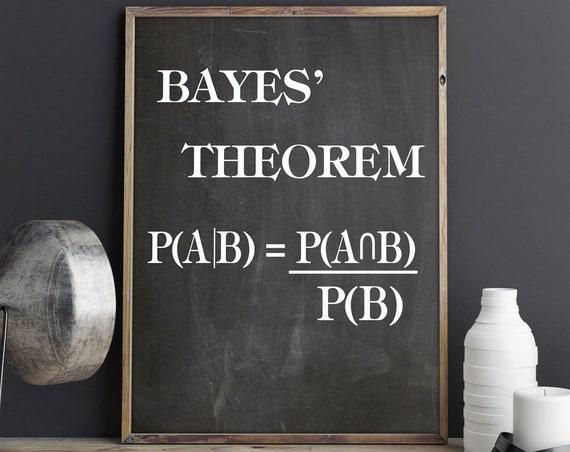 Bayes Theorem Print Maths Formula Poster Math Poster