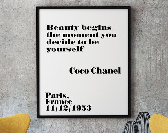 Coco Chanel Print Beauty Begins the moment you decide to be yourself Chanel Quote Chanel Poster Chanel Wall Art Chanel Decor Coco Chanel Art