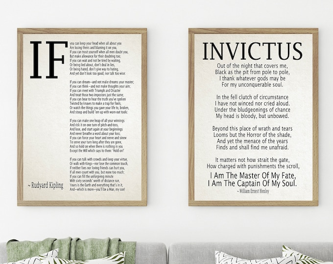 If by Rudyard Kipling and Invictus Poem Set of 2 Motivational Gifts