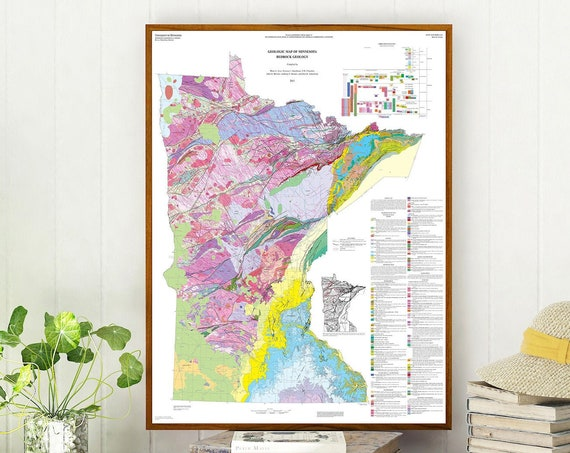 Geological Map of Minnesota Geology Map Art