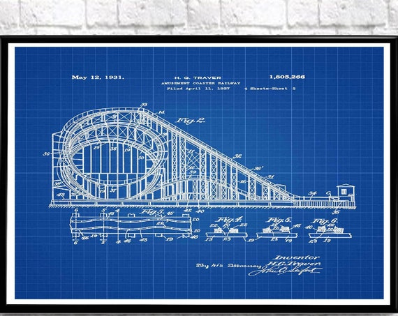 Roller Coaster Poster Amusement park Coaster Railroad 1927 WB541