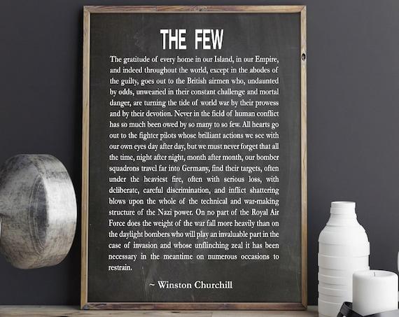 Winston Churchill Speech The Few Churchill Decor Churchill Quote Churchill Wall Art