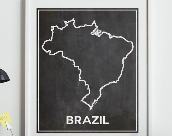 Brazil Chalkboard Map of Brazil Brazilian Poster Brazilian Wall Art Brazil Poster Brazilian Print Rio Wall Art Rio Poster