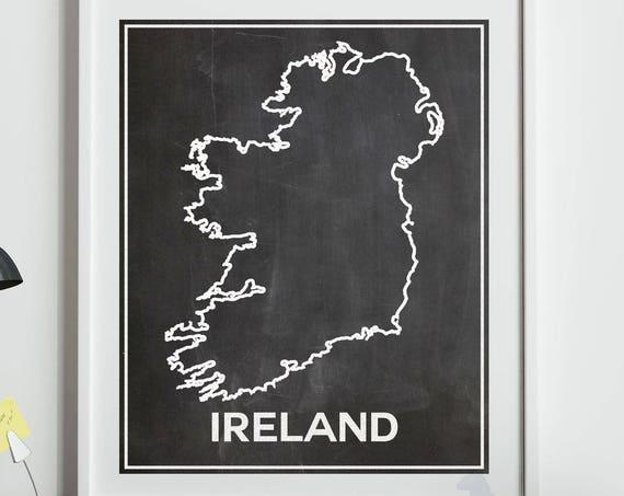 Ireland Chalkboard Map Print Map of Ireland Irish Decor Irish Gift For Irish Dublin Wall Art Irish Art Irish Wall Art Irish Theme