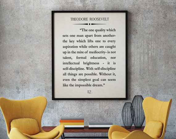 Theodore Roosevelt Quote Roosevelt Self Discipline Quote Discipline Book Page Quote Inspiring Quote Motivational Wall Art Book Page Decor
