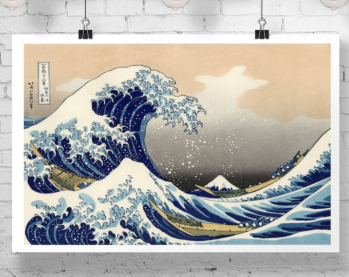 The Great Wave off Kanagawa by Hokusai Great Wave Art Great Wave Poster Great Wave Print Japanese Wall Art Japanese Poster Japan Poster Art