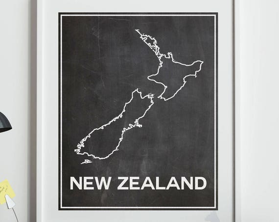 Map of New Zealand Map in Chalkboard Style With White Outline Wellington Auckland Invercargil Milford Sound New Zealand Decor