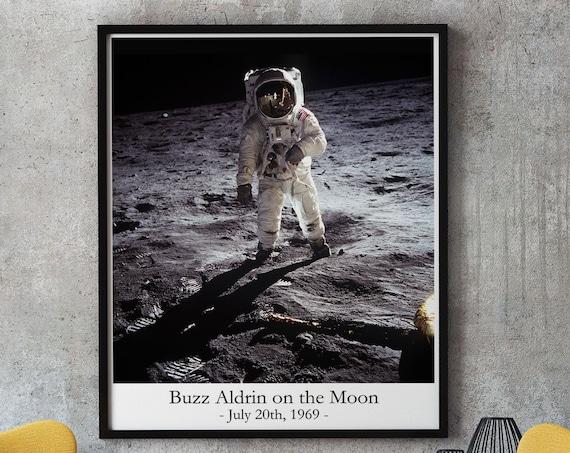Astronaut Photo Buzz Aldrin on the Moon 1969 Moon Photo Print
