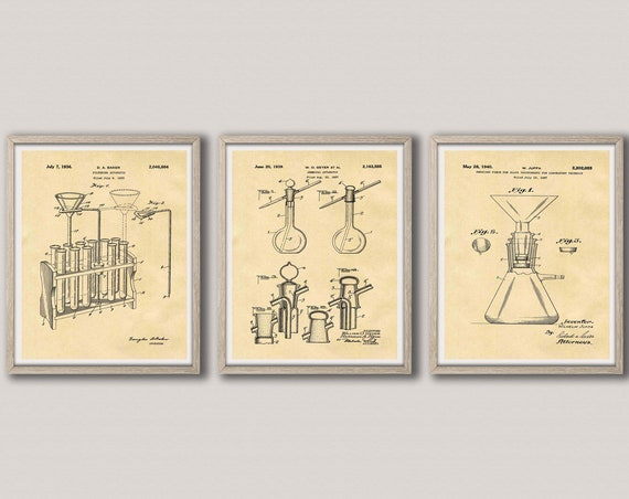 Science Posters Set of 3 Science Prints Apparatus Poster Scientific Inventions Chemistry Poster Chemistry Decor Physics Poster WB383-WB385