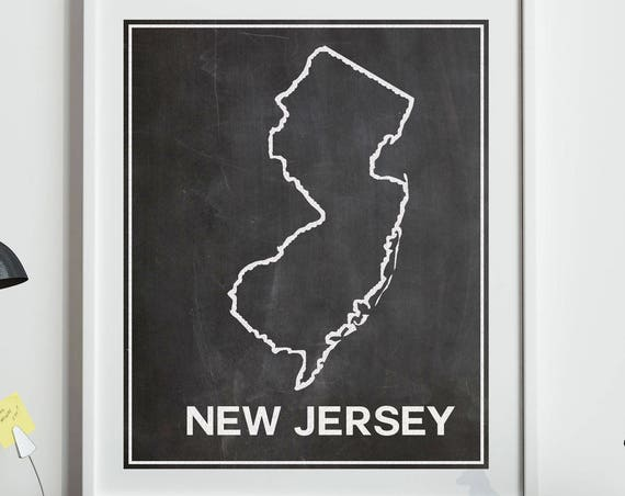 Map of New Jersey Map in Chalkboard Style New Jersey Home Decor New Jersey Art Print New Jersey New Home Gift New