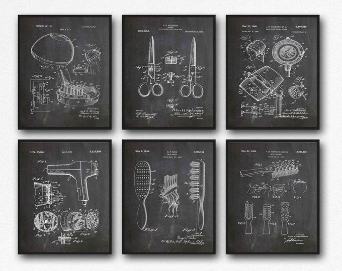 Hairdresser Wall Decor Hairdresser Prints Set of 6 Hairdresser Patents Posters WB405-WB410