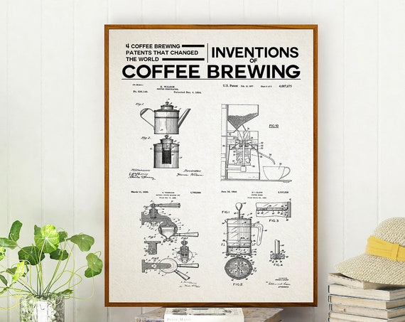 Cafe Decor Coffee Poster Inventions of Coffee Brewing