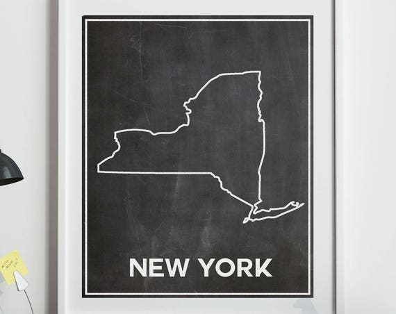 Map of New York State Chalkboard Map of NY State Poster New York Wall Art Print New York Map New York Home Decor NYC Home Decor Map of NYC